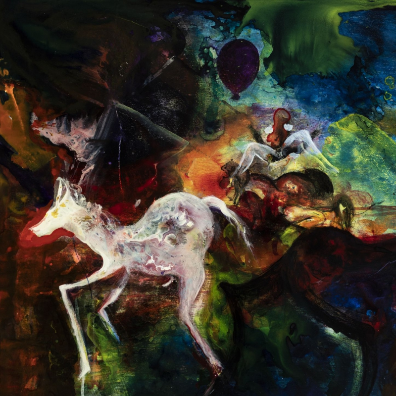 Cornelia Lochmann - Riding the Horses - airbrush and acryl varnish on wood 60 x 80 cm 2018