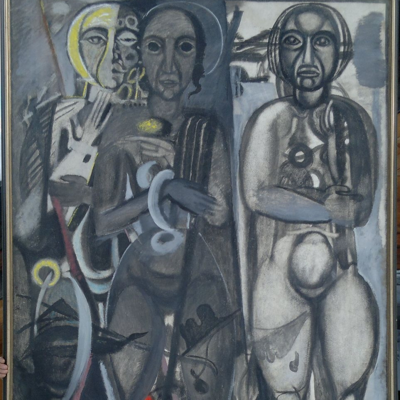 Max Ackermann - Figurengruppe - oil/tempera and oilchalk on wallboard 240x153 cm ca. 1930