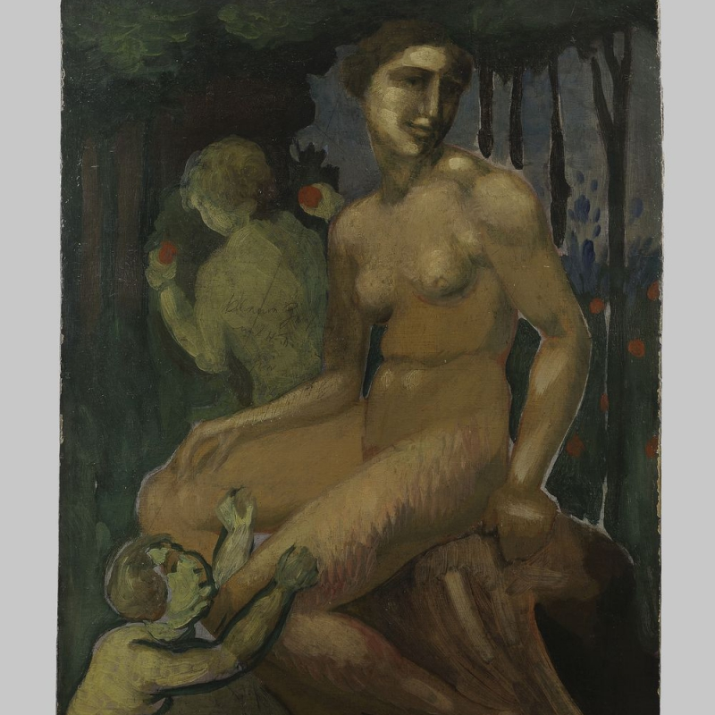 Max Ackermann - Frauenakt mit Kindern - oil/tempera on wallboard 91,0x59,5 cm ca. 1907