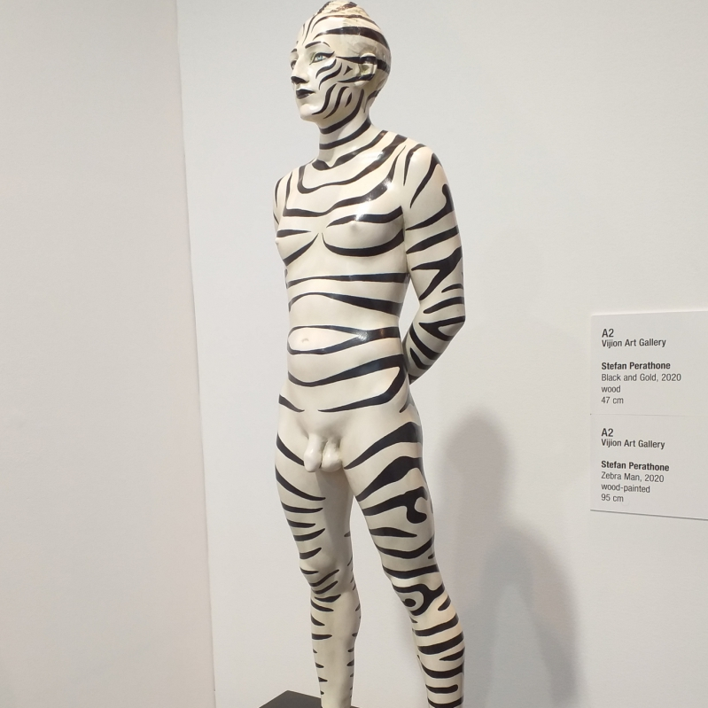 - Zebra Man h 90 cm 2020 woodsculpture